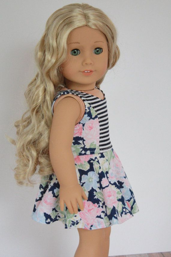 American Girl Doll Clothes Blue Floral and Stripe by Closet4Chloe