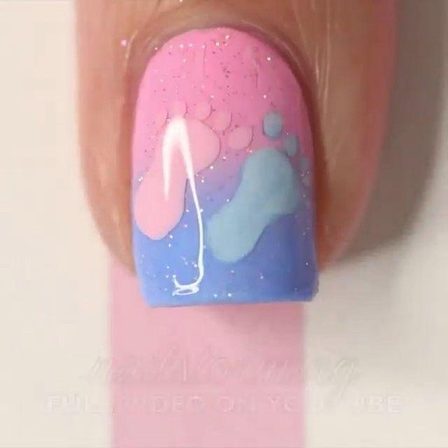 Gender reveal nails                                                       …