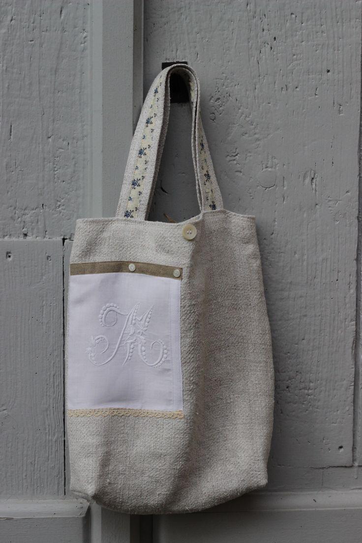 sac en chanvre ancien provenant d'un drap ancien début xxème