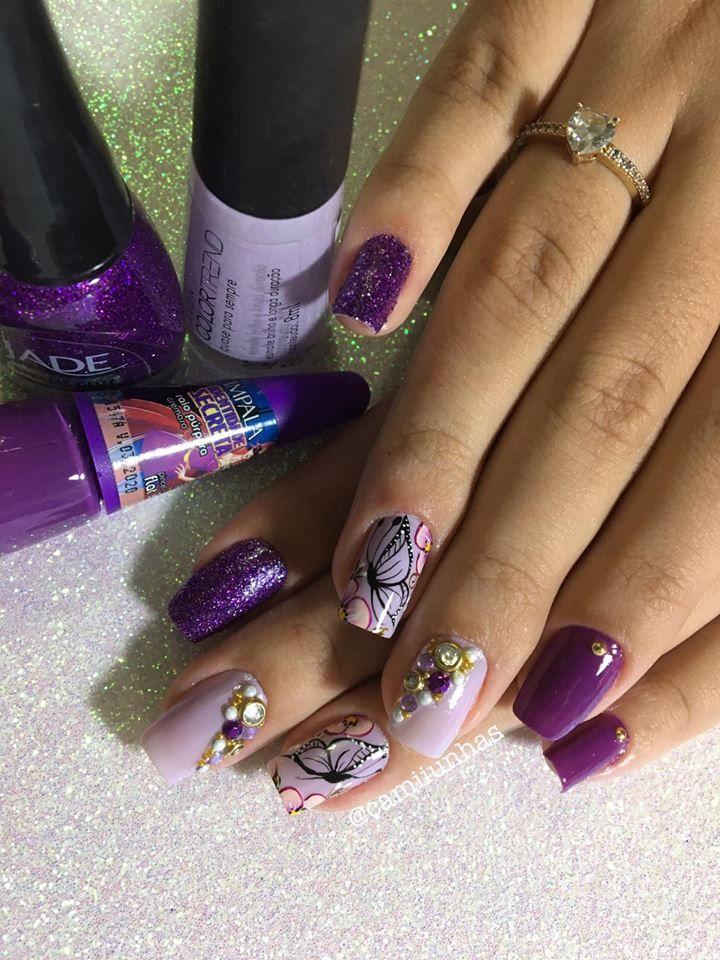 48 Modelos de Unhas Decoradas com Esmalte Roxo | Toe nail color, Toe nails,  Nails