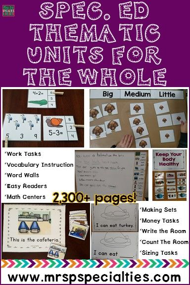 Get a WHOLE SCHOOL YEAR worth of thematic units designed specifically for students with disabilities (autism, multiply disabled, down syndrome, etc). You will get 20 units in all. Each unit will focus on the development of ELA, Math & Language Development skills. These units have helped my students all increase their rate of mastery. They are life savers!!!