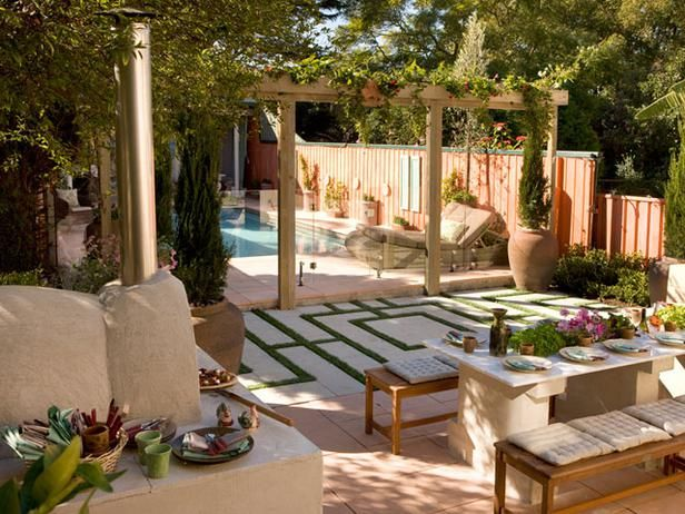 Formal Play  Designer Jamie Durie adds formal interest to this Italian-inspired backyard with grass and tile laid in a geometric pattern. Beyond the labyrinth-like pattern, the pool beckons through a trellised entry flanked by potted cypress trees.: Patio Design, Outdoor Living, Outdoor Rooms, Italian Renaissance, Jamie Durie, Small Spaces, Concrete Design, Backyard Spaces, Outdoor Spaces