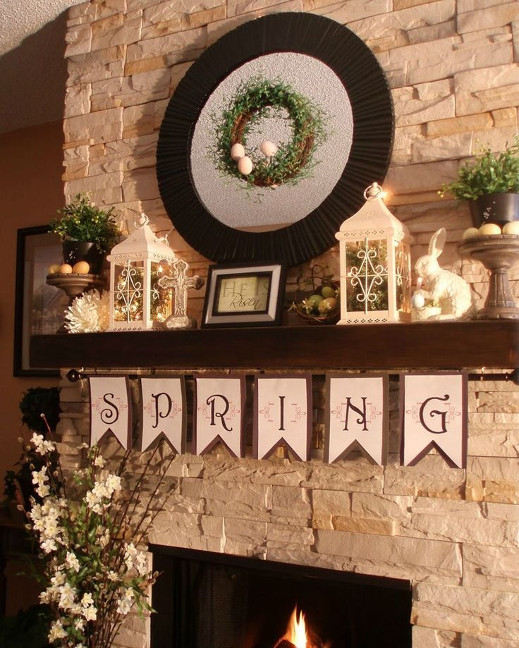 Mantel Shelf Decorated For Spring | TheBestWoodFurniture.com