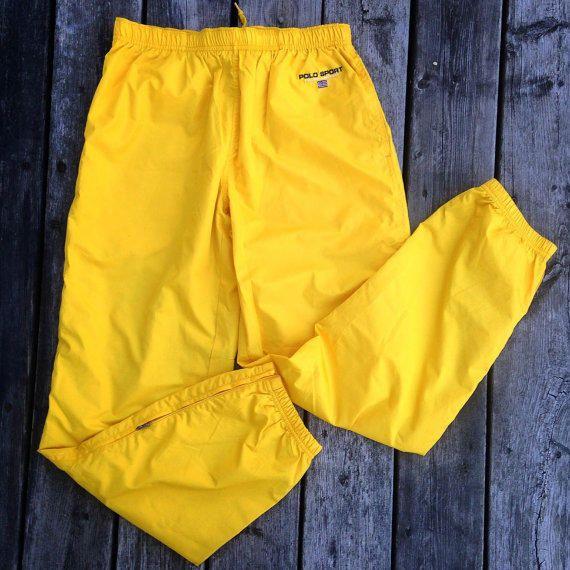 Vtg Ralph Lauren Polo Sport Track Pants Deadstock M yellow jacket  windbreaker shirt sweater pwing jersey