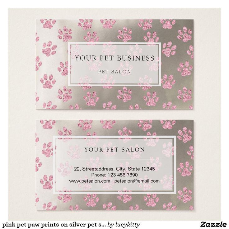 pink pet paw prints on silver pet salon business card