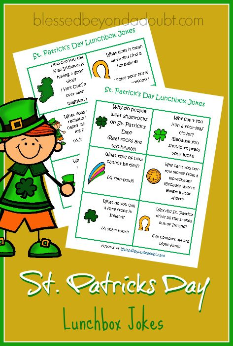 FREE St. Patrick's Day lunchbox jokes! Surprise your family will a chuckle.