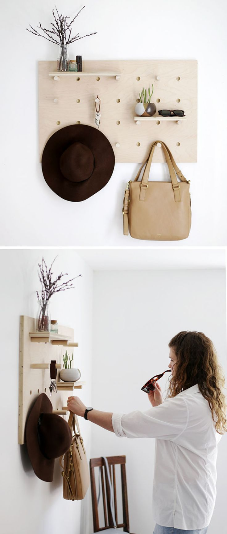 This pegboard is perfect for your accessories…(it's a DIY project)