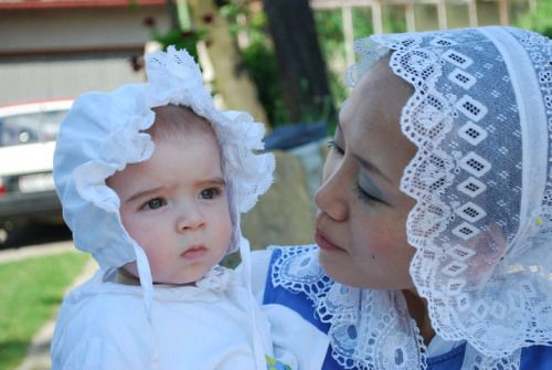 Lace cap as a part of traditional ensemble in Myjava, Slovakia.