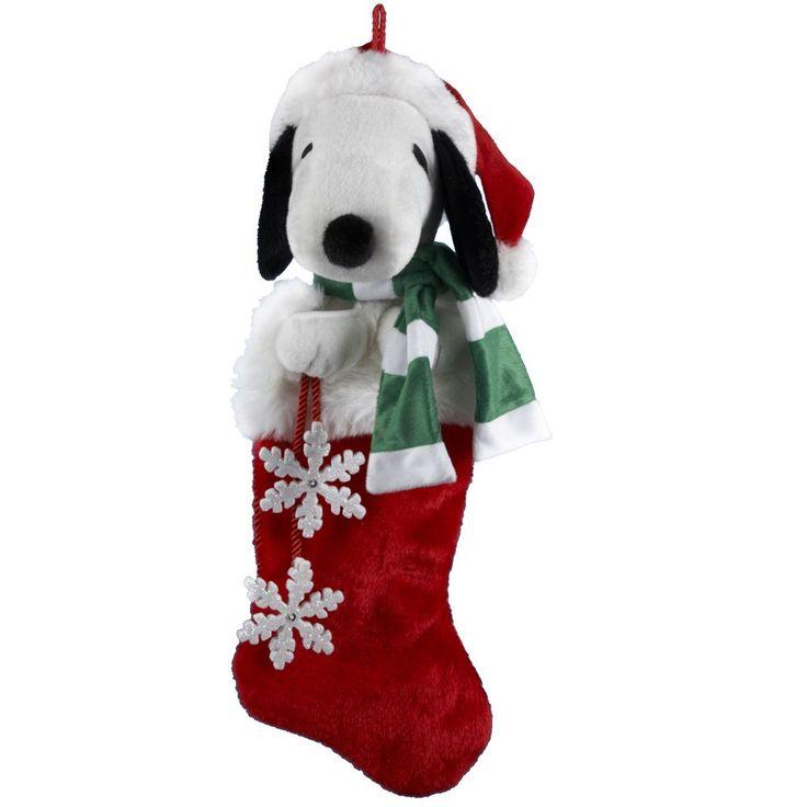 Kurt Adler 21-Inch Snoopy Plush Head Stocking with Snowflake Dangles (21-Inch Snoopy Plush Head Stocking), Green