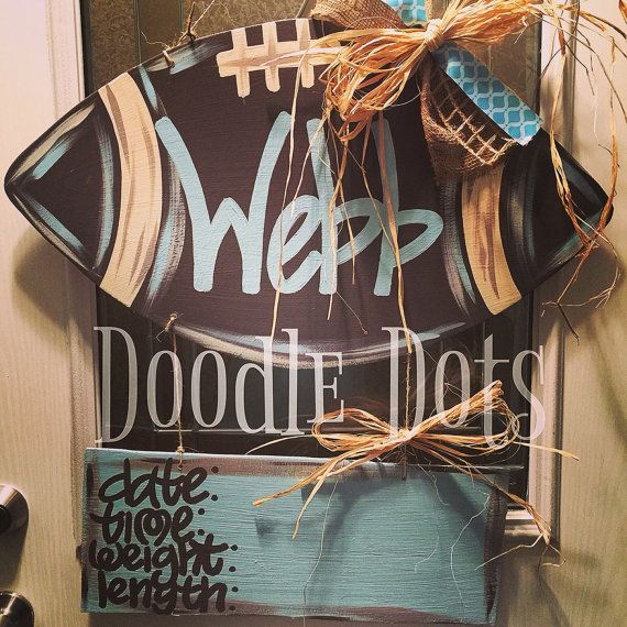 Football Baby Door Hanger by DoOdLeDotsAnDmOre on Etsy