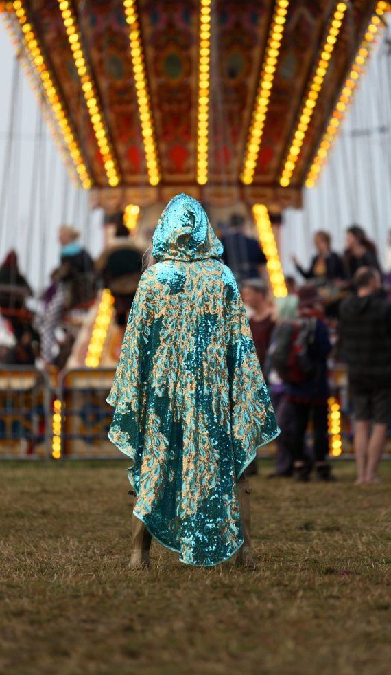 Limited Edition Turquoise and Gold Peacock Sequin Mermaid Cape