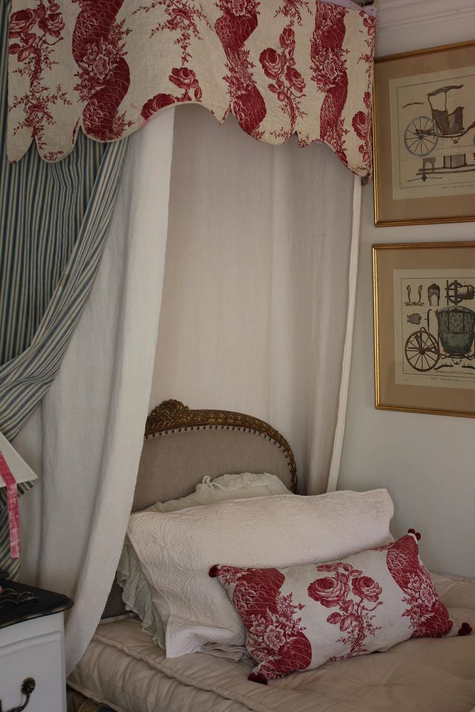 Classic French Bedroom Decorated In Toile Fabrics And Antique Furniture