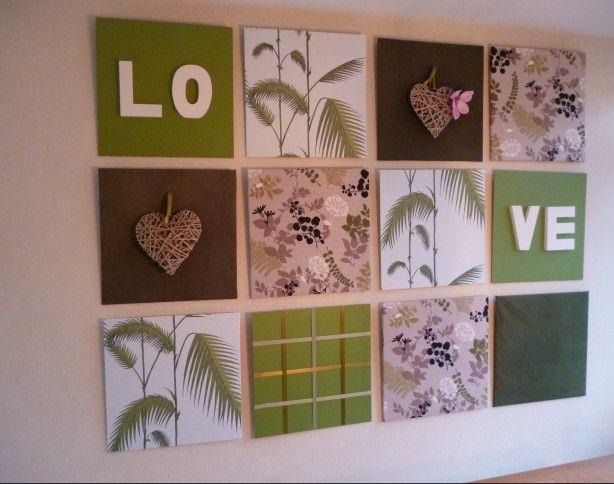 Wanddecoratie in onze eetkamer. 12 plaatjes MDF (hier 50x50cm, maar kleiner is makkelijker i.v.m. breedte behang), verf, behang, (restjes gordijn)stof, letters, lint en hartjes. Opgehangen met spiegelhaken.