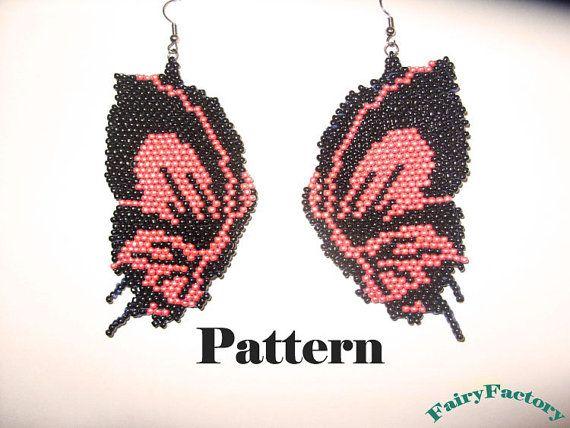 Pattern Butterfly - brick stitch earrings via Etsy