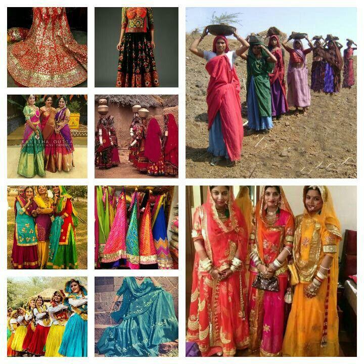 Lehenga/Ghagra:gota patti bridal,navratri gujrati, south pattu,Banjara,Punjabi,Haryanvi,lehriya/bandhani,Lucknowi Garara,    Labours, Rajputi Poshak