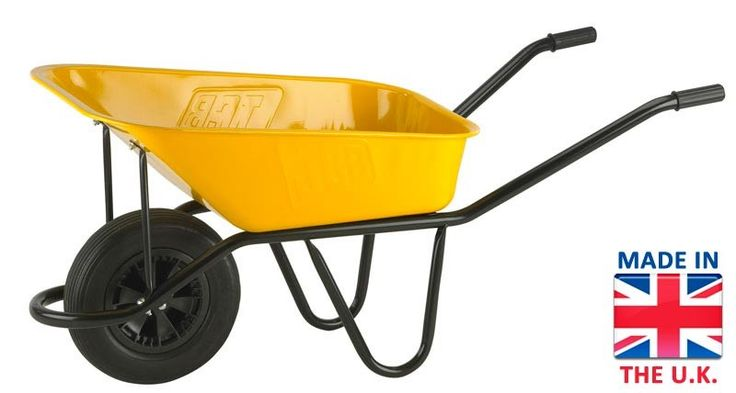 The JCB Yellow Heavy Duty Wheelbarrow - 90 LTR  http://www.wheelbarrowsales.com/the-jcb-yellow-heavy-duty-wheelbarrow-90-litre.html