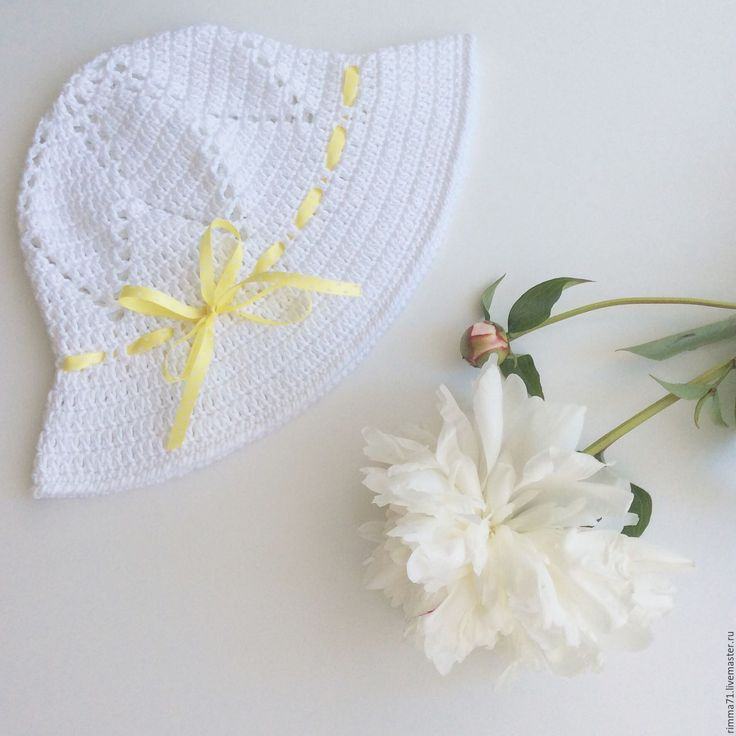 Купить Панамка для девочки - белый, однотонный, шляпа, панама, панамка вязаная, шляпа вязаная