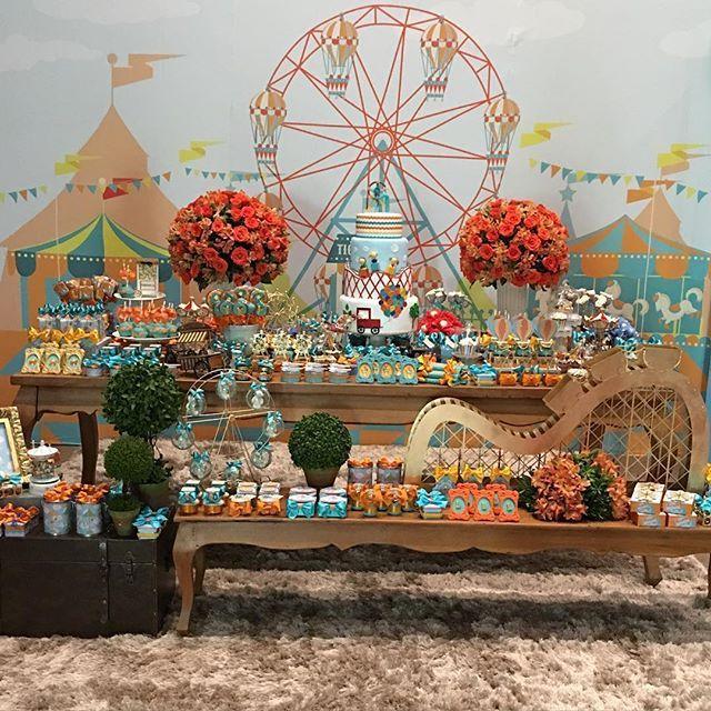 Festa: Parque de diversões 🎢🎡 selecionado pelo IG @umbocadinhodeideias. Decor: @decorafestas ...