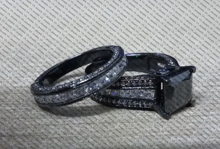 2.08ct Black Princess Moissanite Diamond Engagement Wedding Ring Set in Silver  #HandMade #bridalset #weddingring #ringset #rings #diamond #black #blackdiamond #princess #engagement #shopping #onlineshopping #ebaysale #diamondring #engagementset #weddingset @Diamond