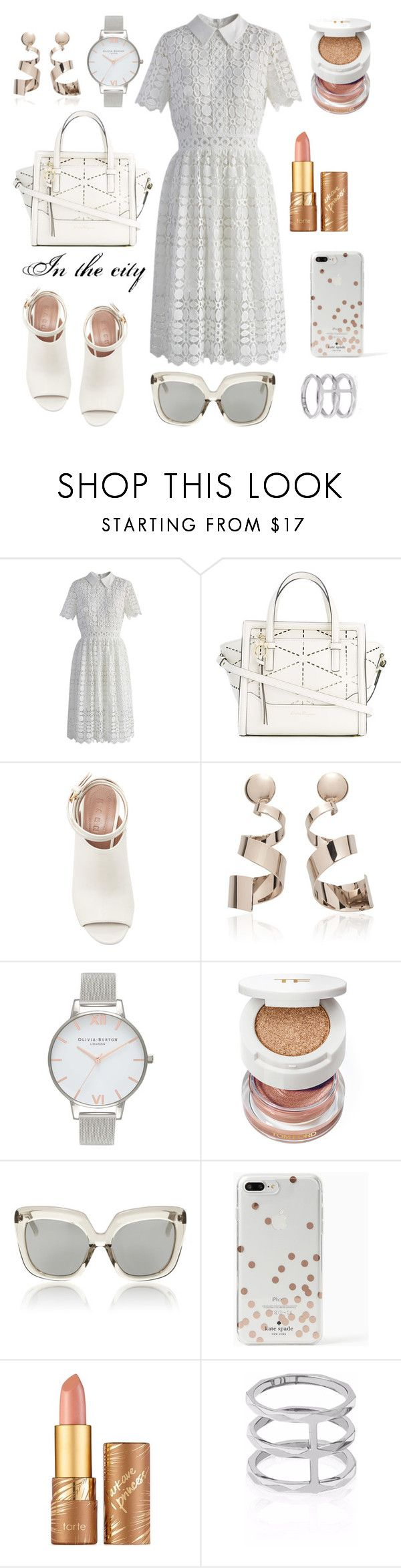 """""""Summer in the city"""" by ana-amorim ❤ liked on Polyvore featuring Chicwish, Salvatore Ferragamo, Marni, Olivia Burton, Tom Ford, Linda Farrow, Kate Spade, tarte and Edge of Ember"""