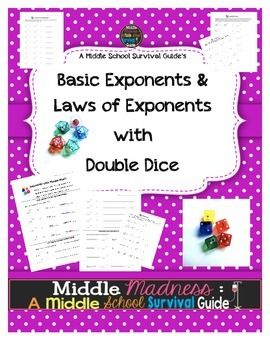 ★ ★ Double Dice Exponent Activity★ ★ Learning the rules of exponents is a difficult concept for middle schoolers. 6 practice pages for double dice (or rolling twice)!