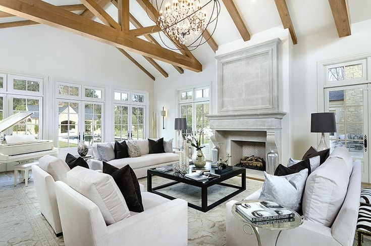 Kim Kardashian and Kanye West's new home.  The NEW new house: Vaulted truss ceilings crown the living room. | Spaces - Yahoo Homes