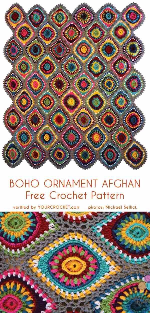 Crochet Patterns Christmas Boho Ornament Afghan Free Crochet Pattern