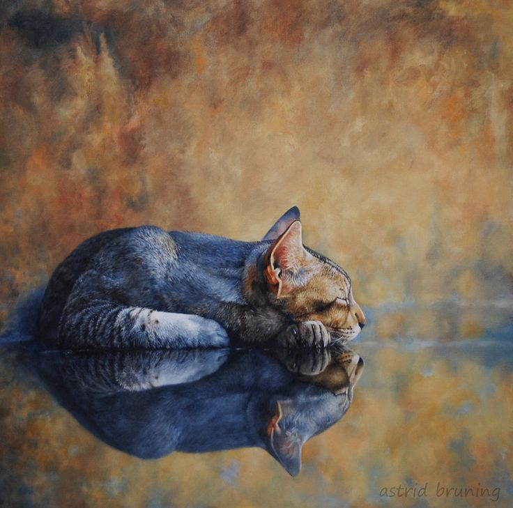 feline-thylacine: On Reflection PAINTING by... Cherry Blossom Rose♥•♥•♥