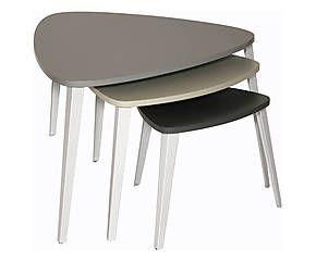 3 Tables gigognes, bois - multicolore