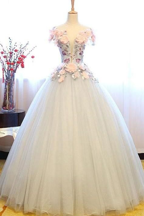 0596d7c76b White Princess Deep V Neck Flowers Cap Sleeve Long Ball Gown Prom Dresses