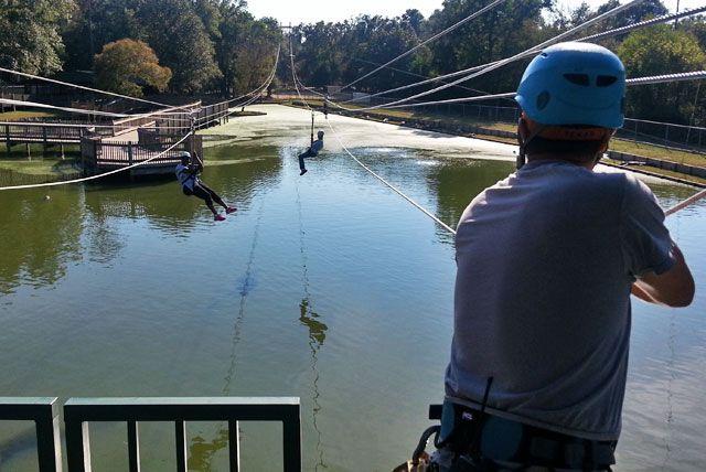 Ziplining over alligators in Shreveport, Louisiana