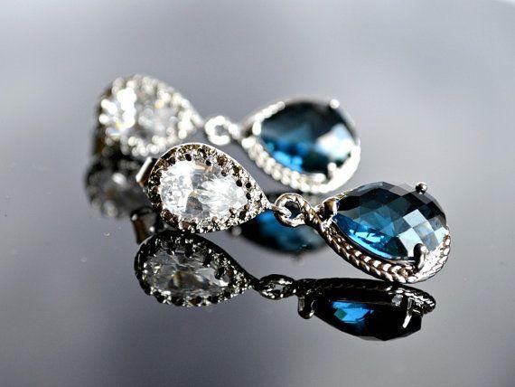 Sapphire bridal earring  blue bridesmaid by BohemianPleasures, $29.99