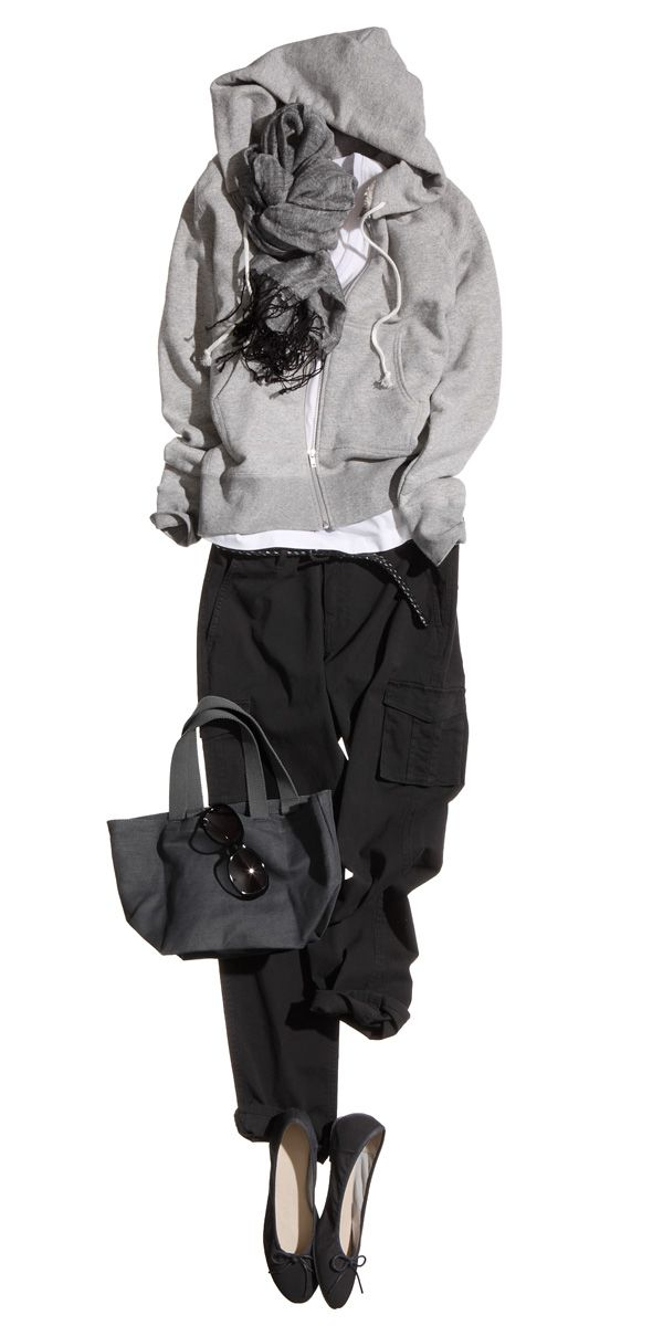 Cute lounge day outfit: white tee shirt, hoodie, black pants, purse, sunglasses and flats