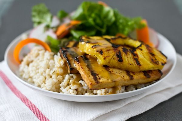 tofu with grilled pineapple coconut rice extra firm tofu grilled tofu ...