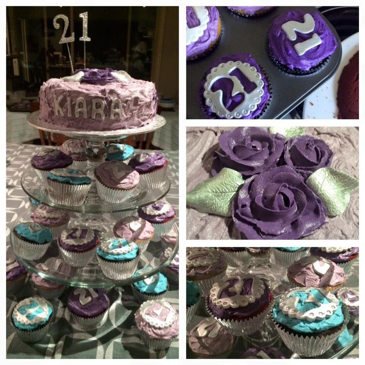 21st Cupcakes #cupcakes #pink #purple #redvelvet #chocolate #buttercream #flowers #silver #girly #cupcakes