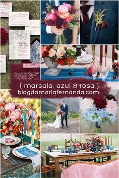 Decoração de Casamento : Paleta de Cores Marsala, Azul e Rosa   http://blogdamariafernanda.com/decoracao-de-casamento-paleta-de-cores-marsala-azul-e-rosa