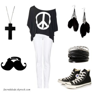 T-shirt peace and love+slim blanc +converse +accessoire=