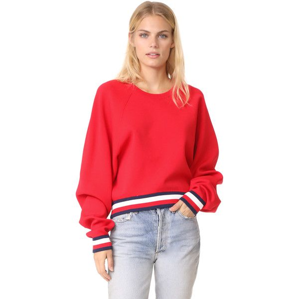 Hilfiger Collection Corporate Sweater (685 RON) ❤ liked on Polyvore featuring tops, sweaters, true red, striped crew neck sweater, red stripe sweater, long red sweater, red sweater and raglan sweater