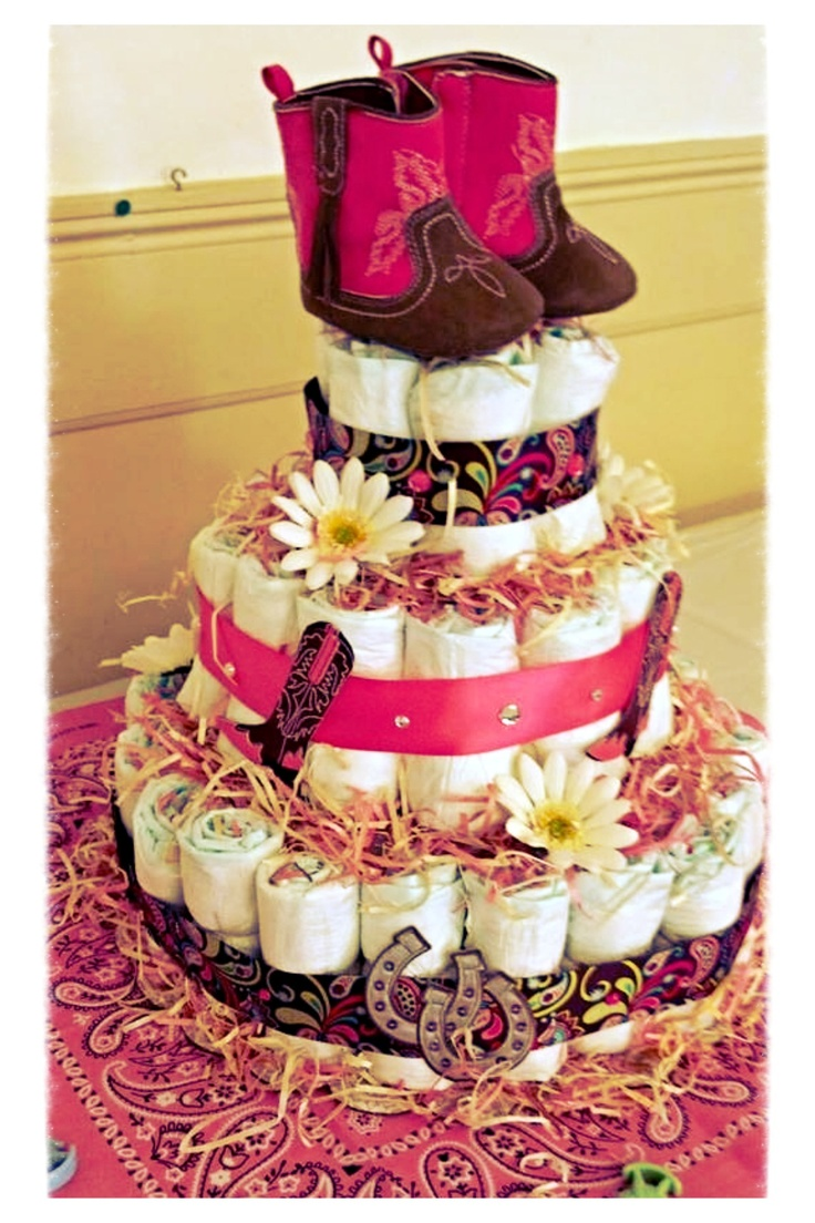 Lil cowgirl diaper cake my amazing sister made for my shower