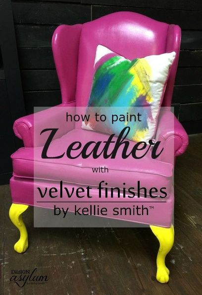 diy painting leather with velvet finishes, home decor, painted furniture