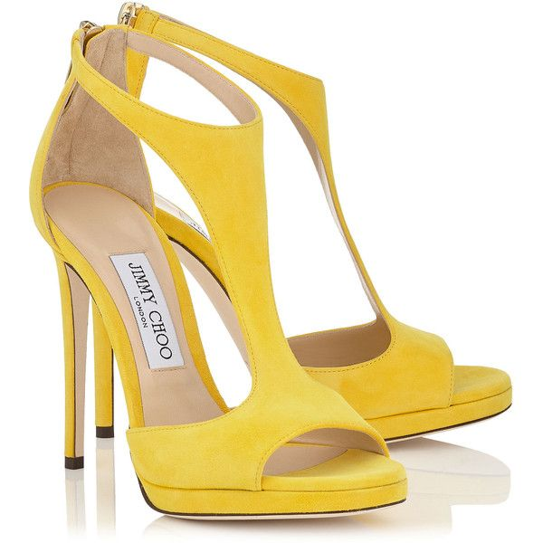 Pop Yellow Suede T-Bar Sandals LANA 120 (€395) ❤ liked on Polyvore featuring shoes, sandals, heels, scarpe, suede leather shoes, t strap sandals, suede shoes, t strap shoes and yellow heeled sandals
