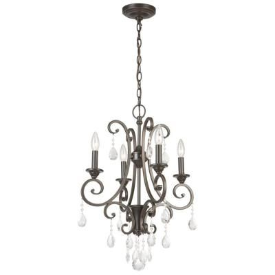 Mini Crystal Chandeliers For Bedrooms: Hampton Bay 4-Light Oil Rubbed Bronze Crystal Small Chandelier,Lighting