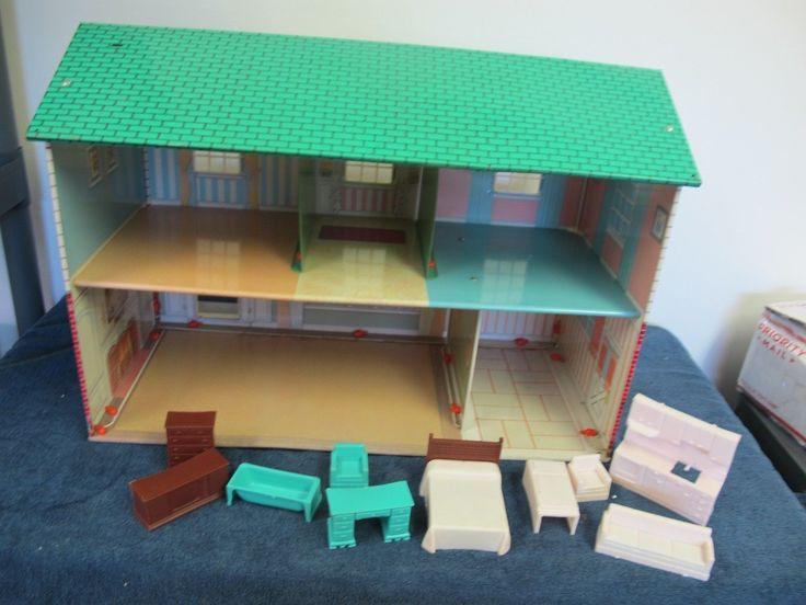Wolverine Metal Tin Dollhouse Vintage W Furniture 2 Story