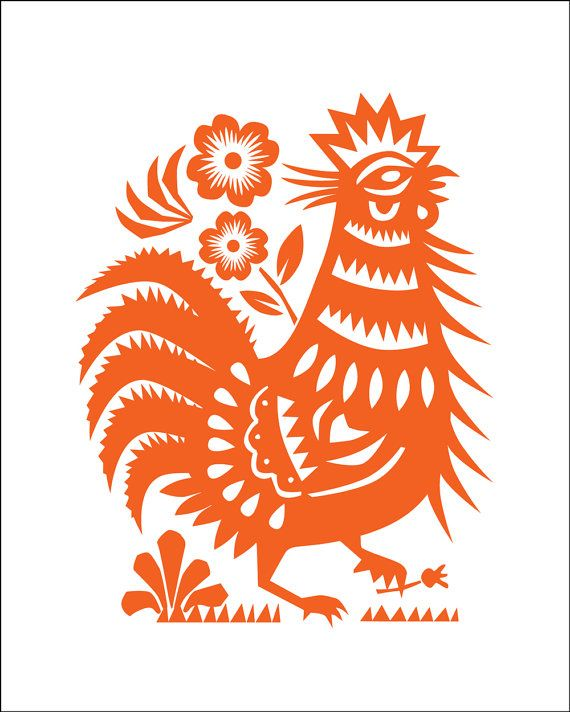 Large Rooster Poster, Restaurant Decor, Rooster Kitchen Decor, Chinese Cut  Paper Style Lucky