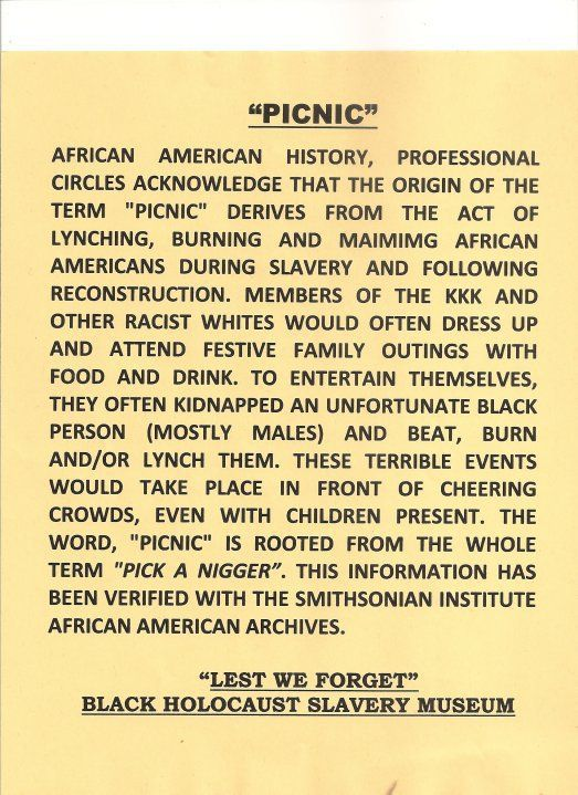 """""""This is an urban legend or I would never use this word again. Picnic originated as a french word in the 16th century. Snopes has an article on it."""""""