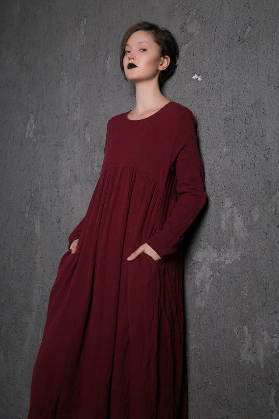 Red Linen Dress  Long Burgundy Loose-Fitting Long-Sleeved