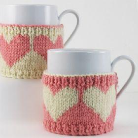 4 Heart Motif Knit Mug Cosies - Knitting Kit