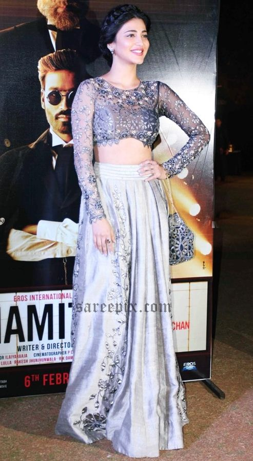 "Actress Shruti haasan (shruti Hassan) in lehenga at Hindi movie ""Shamitabh"" audio launch in Mumbai."