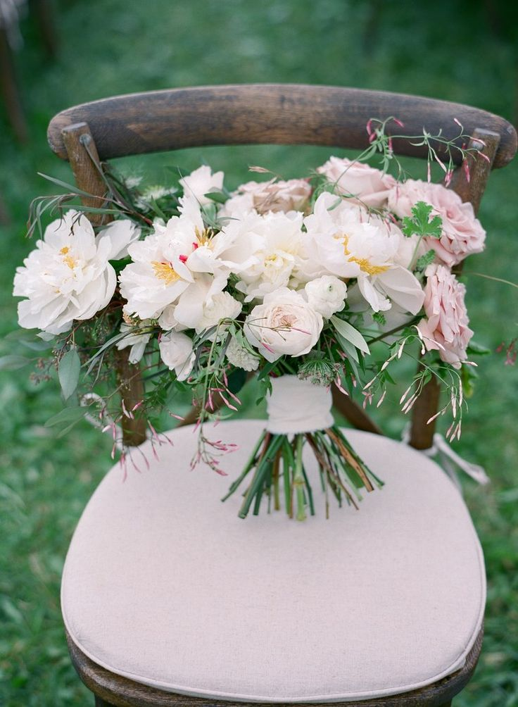 Soft Bouquet of Peonies, Roses, and Jasmine Vines Tied with Silk Ribbon
