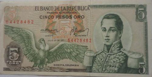 Billete De 5 Pesos Oro (Colombia) a COP 4000  en  PrecioLandia Colombia (6q6k9a)